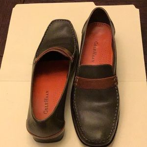 Cole Haan loafers, forest green and brown